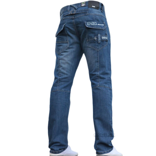 BNWT NEW MENS ENZO JEANS BLUE DESIGNER BRANDED STRAIGHT WASHED ALL WAIST /& SIZES