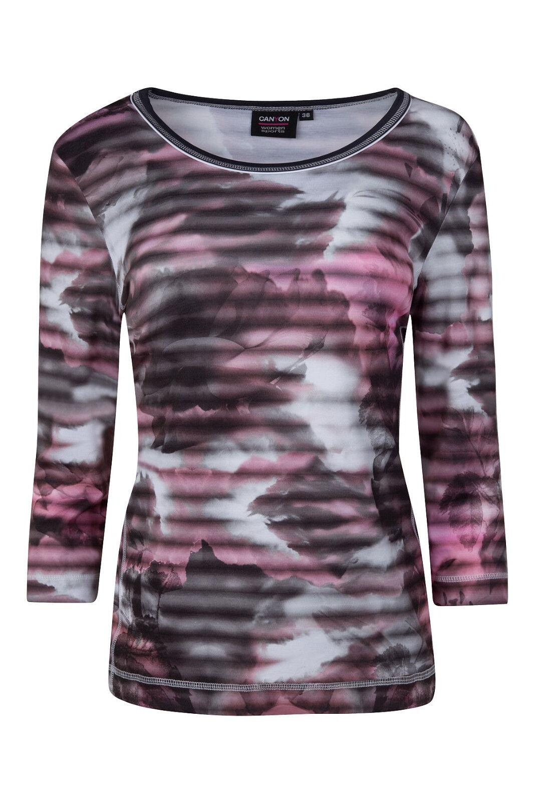 Canyon T-Shirt Rosa-grau Damenshirt 3 4 Arm Wischeffekt Print