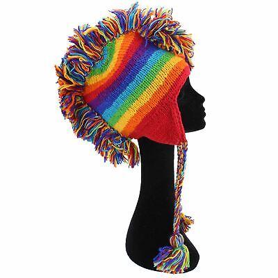Mohawk Punk Hat Wool Festival Earflap Beanie Lined Fleece Knit Rainbow Space Dye