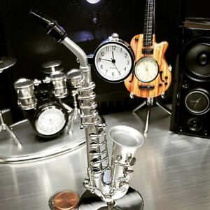 SAXOPHONE-MINIATURE-JAZZ-COLLECTIBLE-MUSICIAN-BAND-INSTRUMENT-MINI-CLOCK