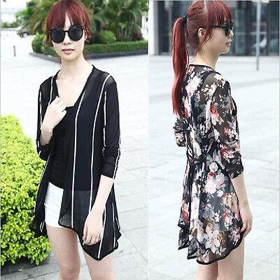 Women Print Cardigan Loose long Kimono Coat Chic Thin Blouse Fashion Tops Trendy