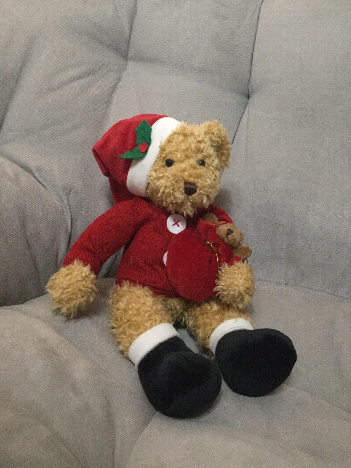 Avon Sammy Santa bear plush dressed as Santa Clause w  Christmas Tree ornament