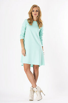 Ladies Coctail Mini Dress With Zipper Long Sleeve Tunic Sizes 8-16 FA323