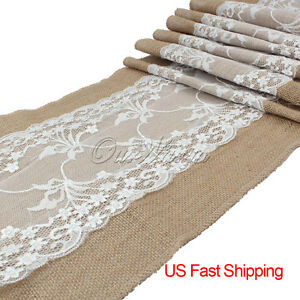 Wholesale 10pcs burlap lace table runners wedding party kitchen table decor us ebay - Manteles originales ...