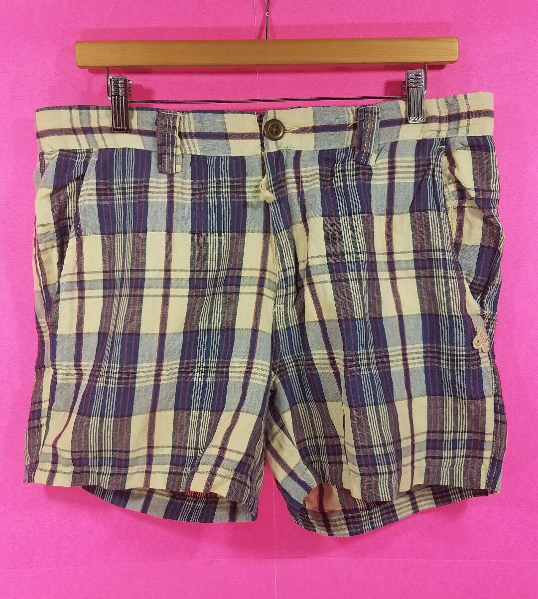 Men's Scotch And Soda Co. Plaid Casual Shorts Size L Large NEW