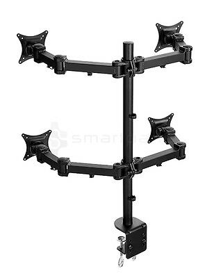 Lavolta Quad Monitor Mount Stand Arm Desk Clamp +/-15° Tilt 360° Rotate Swivel