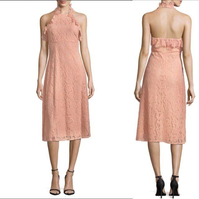 Nanette Lepore Modern Glam Halter Neck Blaush Rosa Dress Sz 8 NWT  C9