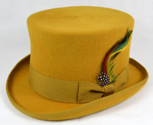 Top Hat High Quality Hats 100% Wool Felt Royal Blue, Grey, Mustard Yellow Topper
