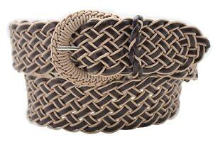Women Belt Hip Waist Brown Beige Western Faux Leather Braided Fabric Classy S M
