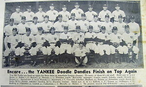 2 1942 display newspapers NY YANKEES win AL Baseball championship - w team photo
