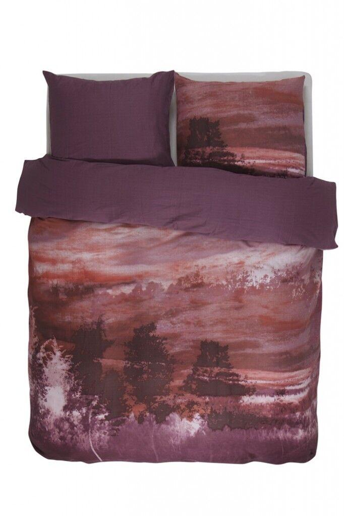 Essenza biancheria da letto SALO ROSSO paesaggio pittura CIELO TRAMONTO svolta ottica Satin