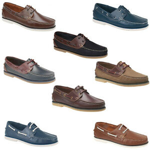 Mens / Gents Leather Boat Deck Leisure Shoes Comfort Size 6 7 8 9 10 11 12