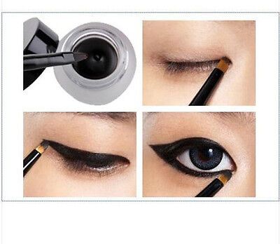 women Eye Liner Eyeliner Gel Makeup Cosmetic + Brush Waterproof one black set