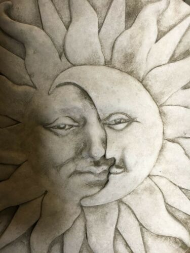NEW LARGE SUN AND MOON WALL HANGING GARDEN STONE ORNAMENT PLAQUE CASTED WALL S