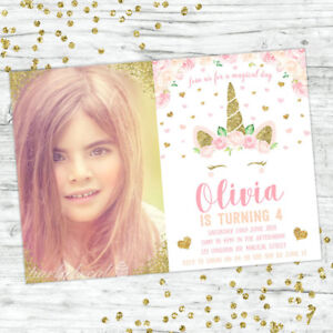 UNICORN-INVITATION-PINK-PEACH-FLORAL-GIRLS-BIRTHDAY-PHOTO-PARTY-GOLD-INVITE