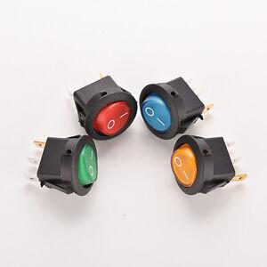 2-4-x-on-off-LED-12V-16-a-DOT-rond-ROCKER-SPST-interrupteur-a-bascule-lumineux