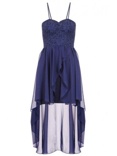 RRP £ 37 Neuf Bleu Marine Quiz Paillettes Dentelle Mousseline Dip ourlet robe Taille 6-16