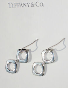 Tiffany-amp-Co-Sterling-Silver-2-Two-Cushion-Drop-Earrings