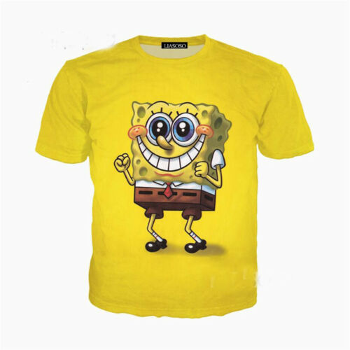 Men Women SpongeBob SquarePants 3D Print Casual T-Shirts Shirts Short Top Tee