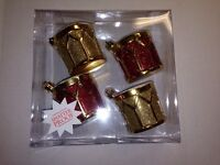 Set Of 4 Christmas Drums Shatterproof Ornaments Red & Gold With Glitter