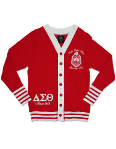 Delta Sigma Theta Sorority 1913 Red White Light Cardigan Sweater Oo