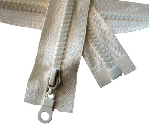 One Way Fastener CREAM 85cm Chunky Zip#5 Plastic Teeth Zipper 33.5/'/' Open End