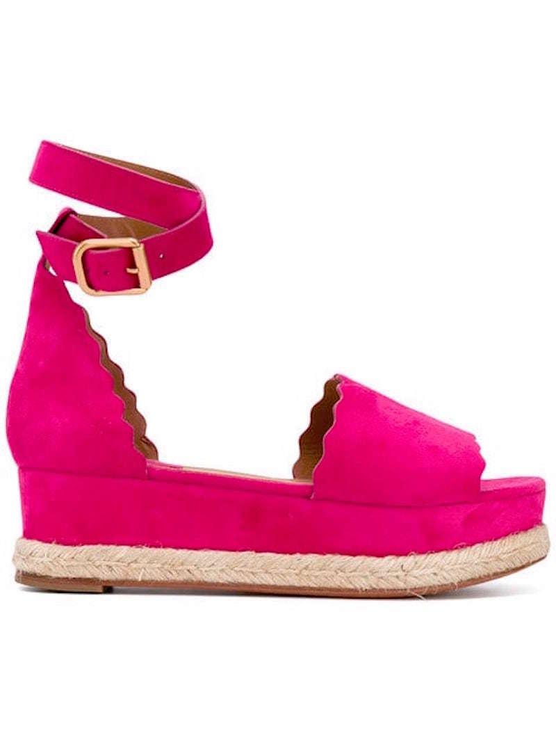 NIB Chloe Dark Pink Suede Lauren Espadrille Platform Wedge Sandals Sz 36  595