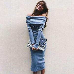 Women-Off-Shoulder-Long-Sleeve-Bodycon-Slim-Midi-Dresses-Sweater-Jumper-Clubwear