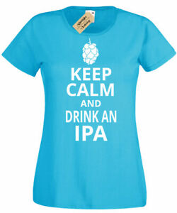 Womens-Keep-Calm-and-Drink-IPA-Funny-ale-craft-beer-Ladies-T-Shirt