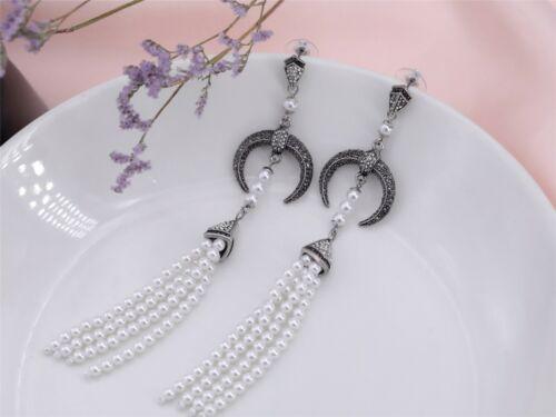 Boucles d/'Oreilles Clous Argenté Noir Long Chandelier Tassel Perle Art Deco XX21