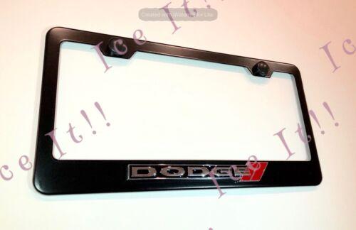 2X 3D Dodge Emblem Black Stainless Steel License Plate Frame W//Cap