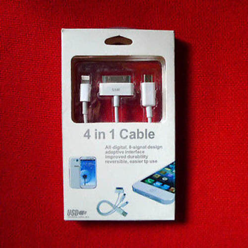 Cable Apple Iluminación Para Iphone Ipad + Teléfono Celular Micro Usb + 30 Pin Samsung Ficha