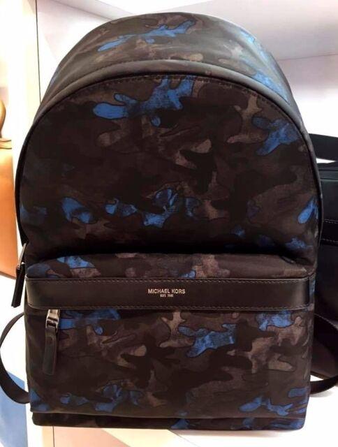 e71c23556b52 Mens Michael Kors Kent Army Black blue Camoflauge Backpack Bookbag ...
