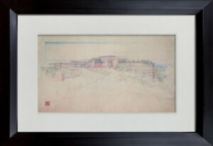 Frank Lloyd WRIGHT Lithograph #'ed LIMITED ~SIGN ~ Bell House 1938 +FRAMING