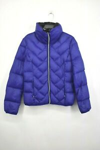 Guess-Womens-Royal-Blue-Zip-Front-Lightweight-Puffer-Jacket-Athletic-Size-Medium