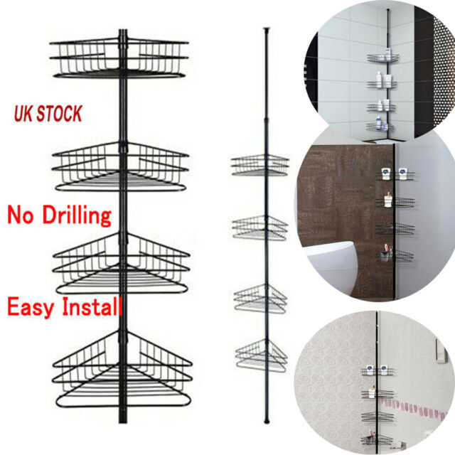 4 Tier Tension Corner Pole Shower Caddy Bathroom Storage Baskets Shelves Chrome For Sale Ebay