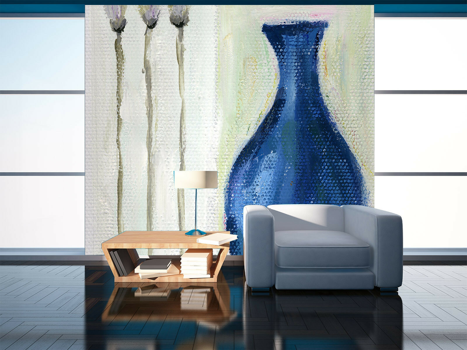 3D bluee Vase Flowers 8 Wall Paper Murals Wall Print Wall Wallpaper Mural AU Kyra