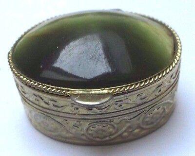 Inteligente Boite à Cachet Pilulier Accessoire Vintage Couleur Or Cabochon Pierre Verte 3284