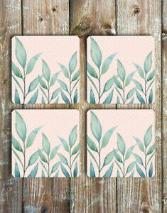 Watercolour-Eucalyptus-Leaves-Coaster-Set-of-4-Non-Slip-Neoprene-Drink-Coasters