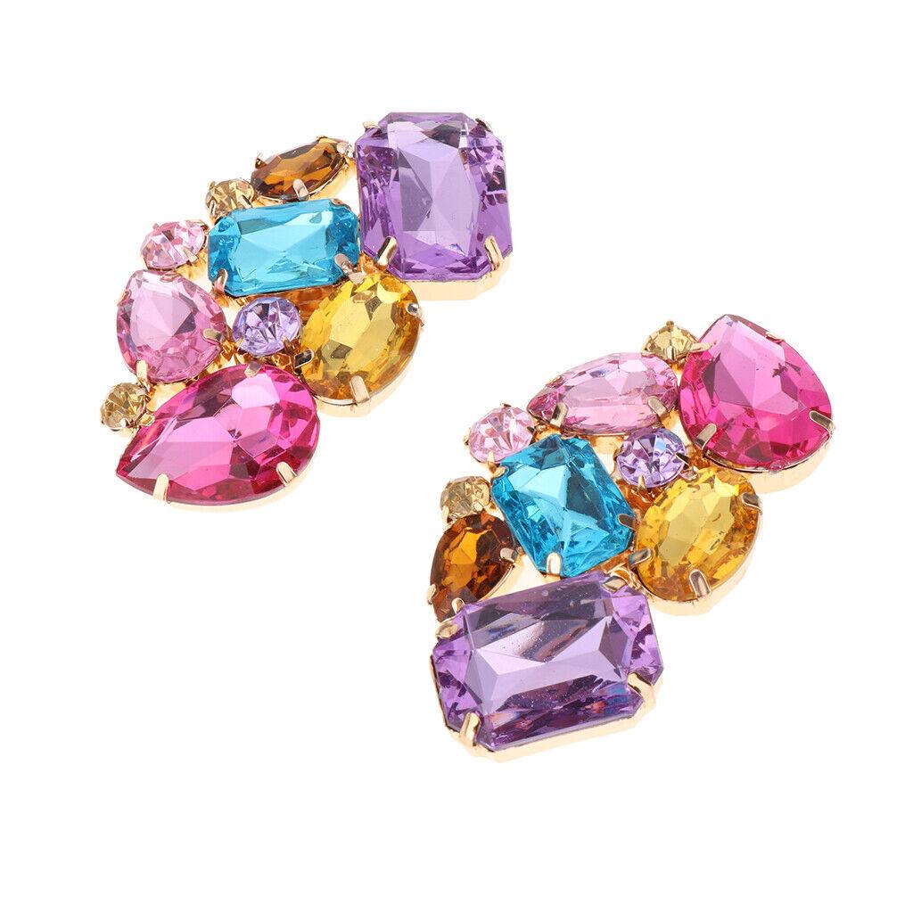 2PC Crystal Rhinestone Shoe Charms Buckle Bridal Detachable Shoe Clips Decor
