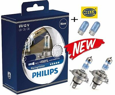 NEW! PHILIPS H4 RacingVision +150% 60/55W 12V P43T 12342RVS2(2pc) +blue w5w 2 pc