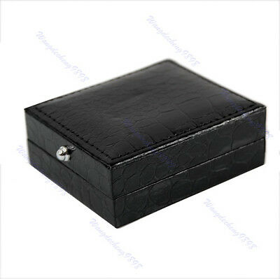 1PC Black Leather Cufflinks Box Gift Storage Case Display Cuff Box New