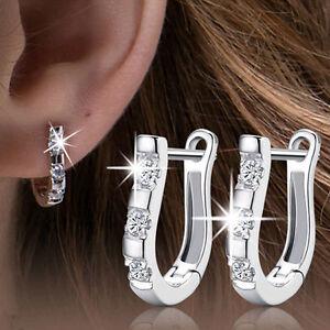 Popular-925-Silver-Crystal-Rhinestone-Women-039-s-White-Gemstones-Hoop-Earrings-Gift