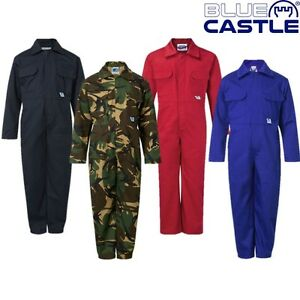 KIDS OVERALLS AGE 1 - 14 YRS BLUE CASTLE TEARAWAY BOILERSUIT WORKWEAR OVERALL