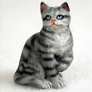 shorthaired silver tabby cat tiny ones figurine statue pet resin ebay