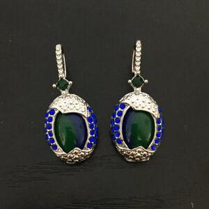 New Arrival Real Blue Opal Sapphire Woman/'s 925 Silver Ear Hook Earrings
