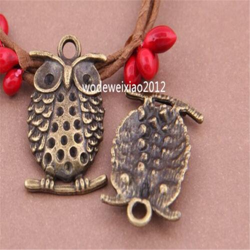 12pc Antique Bronze Bead Charms owl Pendant Accessories wholesale PL465