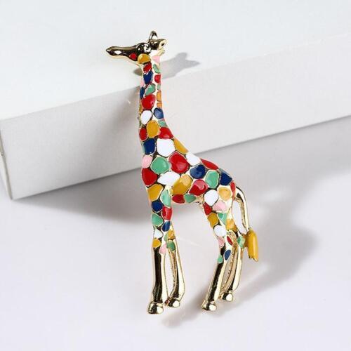 Émail multicolore marron rose girafe Broche Animal Tige Métallique Fashion Jewelry H