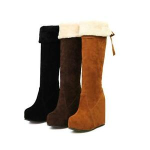 Fashion-Women-039-s-Knee-High-Boots-Wedge-Heel-Platform-Winter-Faux-Suede-Shoes