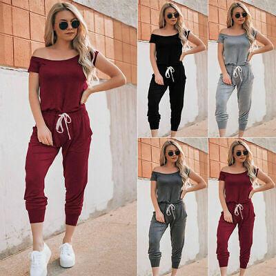 Women Summer Plain Jumpsuit Romper Playsuit  Work Evening Party Pants Trousers